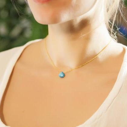 Turquoise Necklace, Teardrop Neckla..