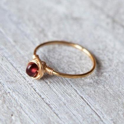 Natural Garnet Ring, Raw Garnet Rin..