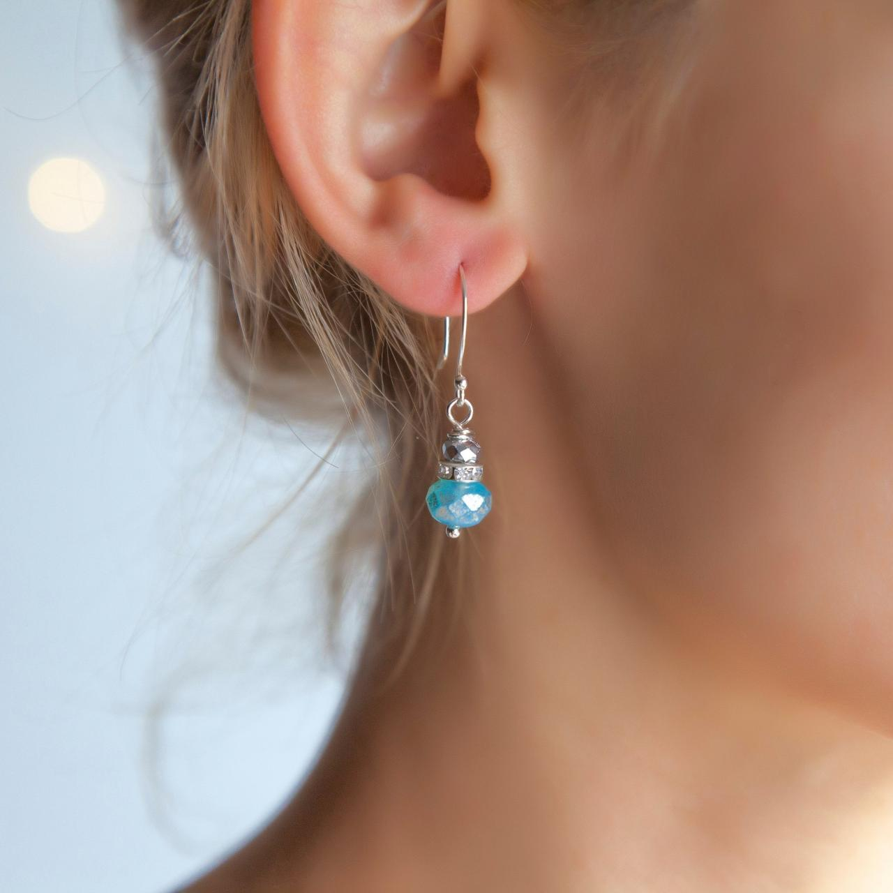 Small Sparkly Silver Blue Earrings