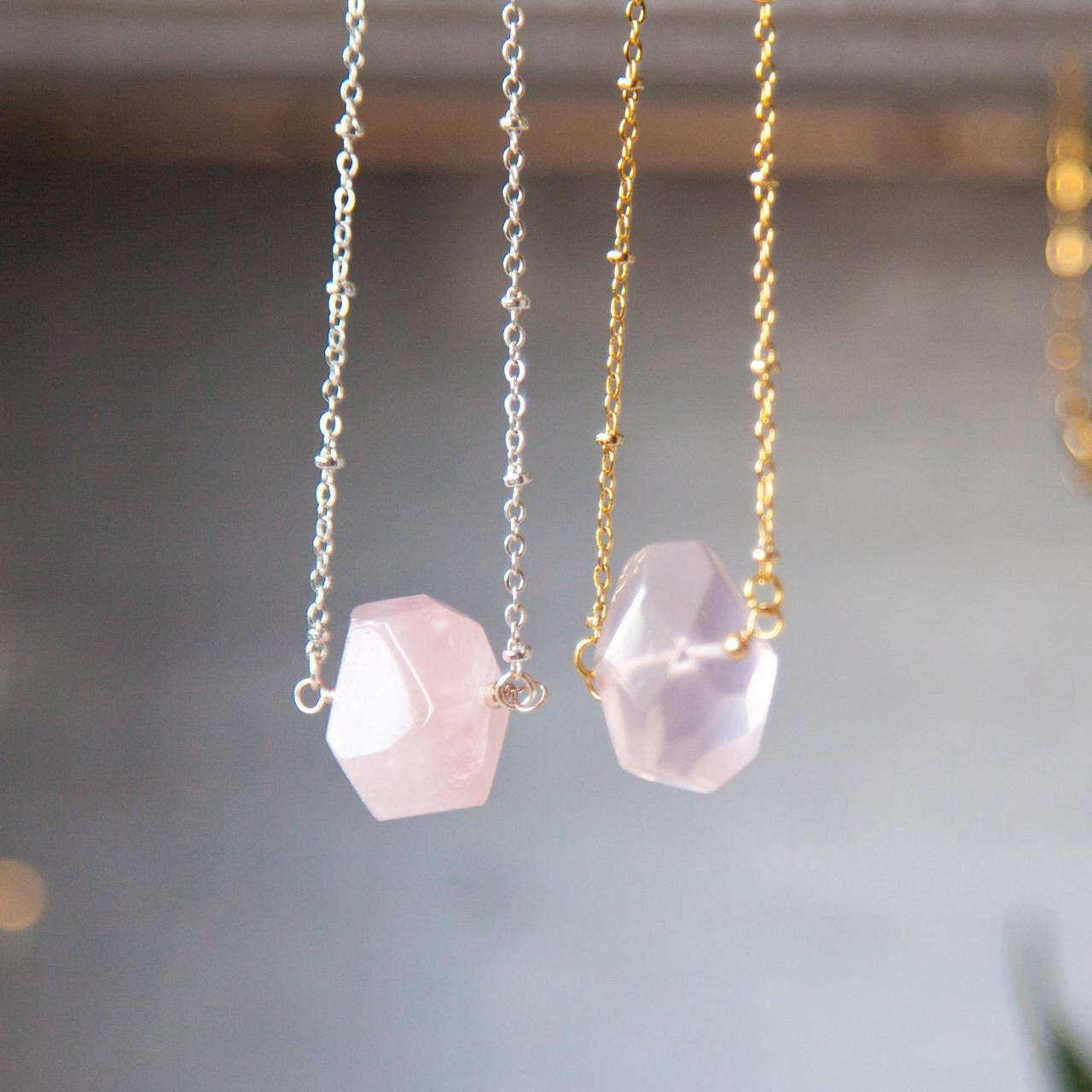 Rose Quartz Necklace Crystal Jewelry