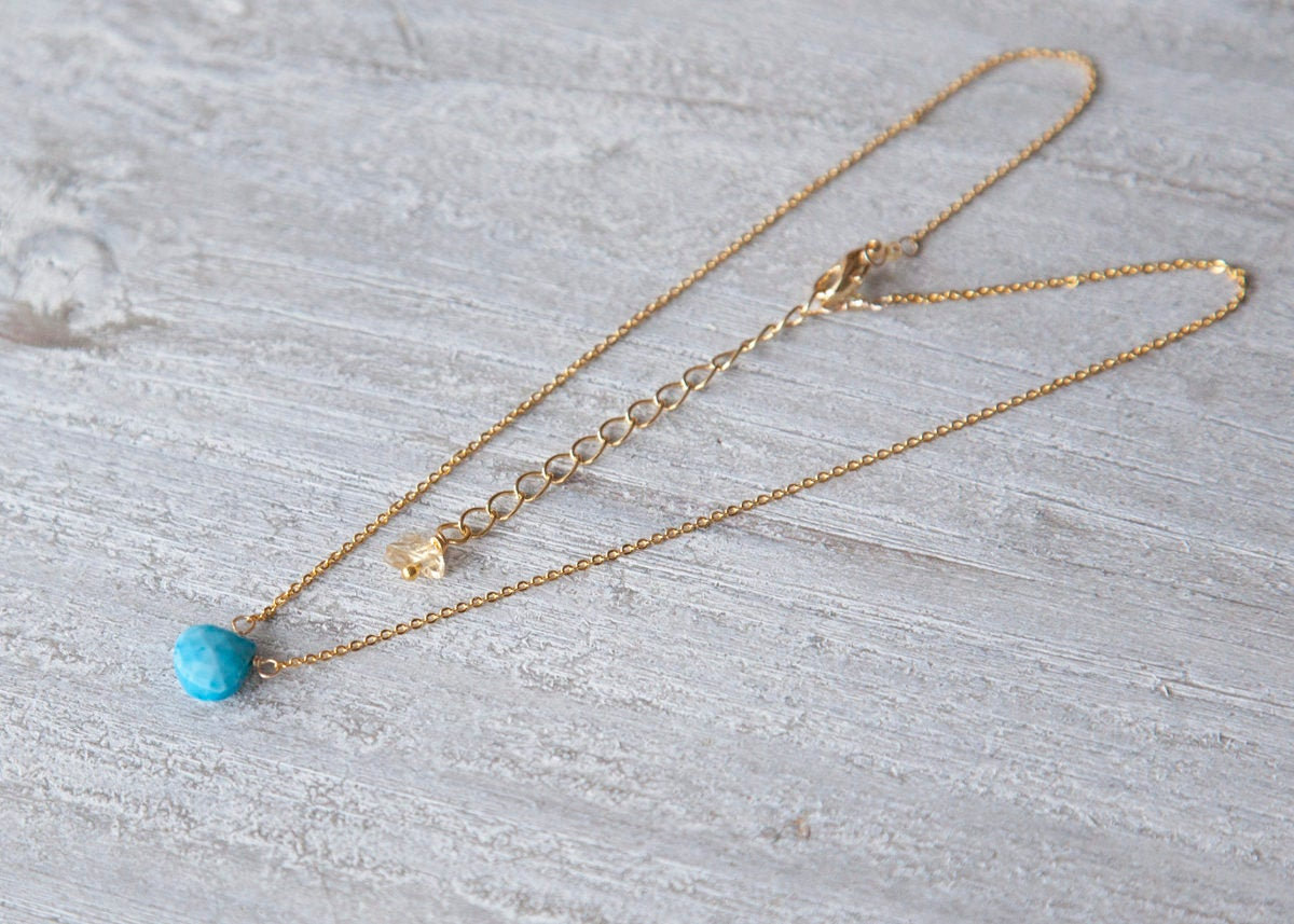 Turquoise Necklace, Teardrop Necklace, Faceted Turquoise Necklace, December Birthstone Necklace
