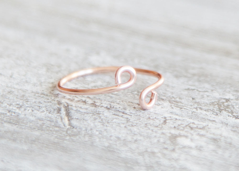Dainty Ring, Rose Gold Ring, Tiny Rose Gold Ring, Minimalist Wire Ring, Stacking Ring, Midi Ring