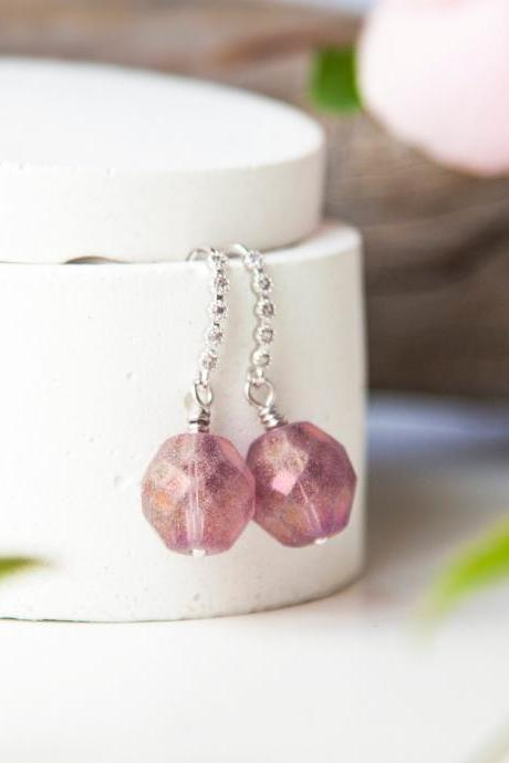 Frosted Glass Earrings, Faceted Drops Lilac Earrings, Wedding Earrings, Gift for Mum, Mother's Day Gift under 30