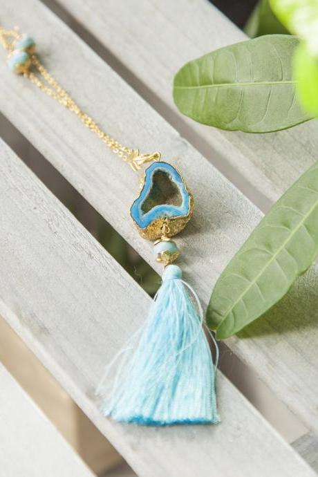 Agate Geode Tassel Necklace Gold