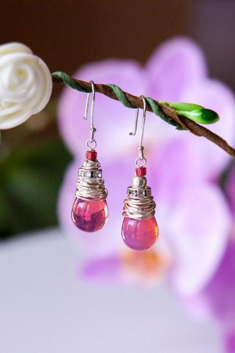 Translucent Red Teardrop Earrings wrapped in Silver Wire, Vibrant Glass Drop Earrings, Medium sized Earrings for Women