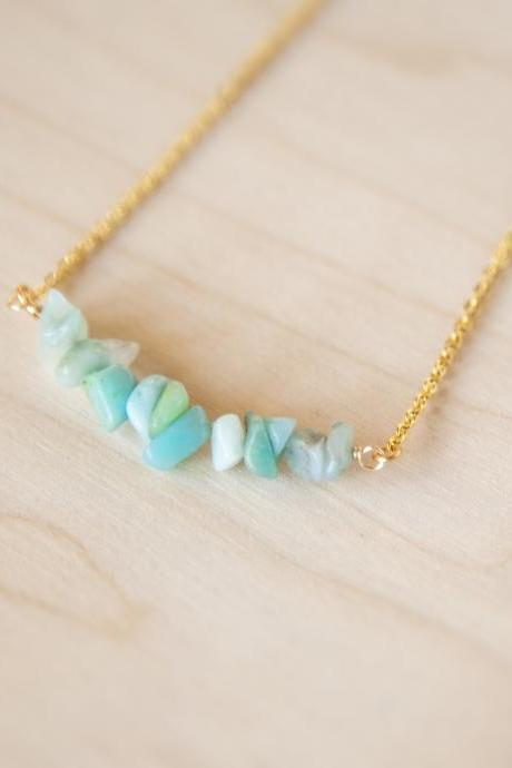 Amazonite Bar Necklace, Amazonite Necklace, Pieces Birthstone Necklace, Mint Green Crystal Necklace, Raw Stone Necklace, Layering Necklace