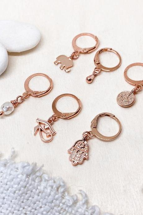 Tiny Boho Hoop Earrings, Mix and Match Huggie Hoop Symbol Earrings, Mismatched Earrings, Tiny Beach Earrings, Rose Gold Earrings