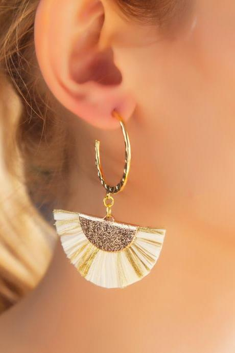Champagne Gold Raffia Fan Earrings