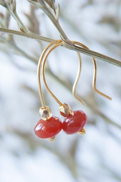 Simple Glass Earrings, Everyday Earrings, Glass Carnelian Earrings, Carnelian Red Jewelry, Tiny Boho Earrings, Gift under 25