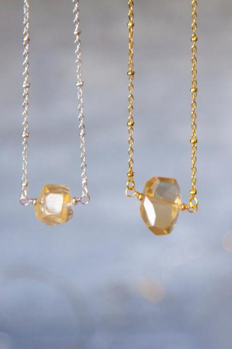 Natural Citrine Faceted Crystal Necklace