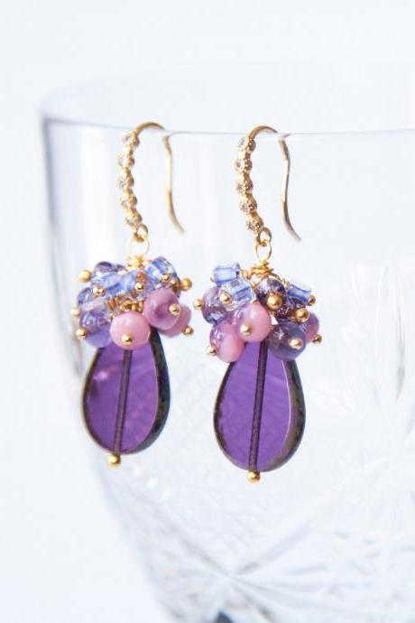 Purple Teardrop Earrings in Gold, Stylish Drop Earrings, Gift for Mum, Gift for Daughter, Bohemian Cluster Earrings, Unique Jewelry