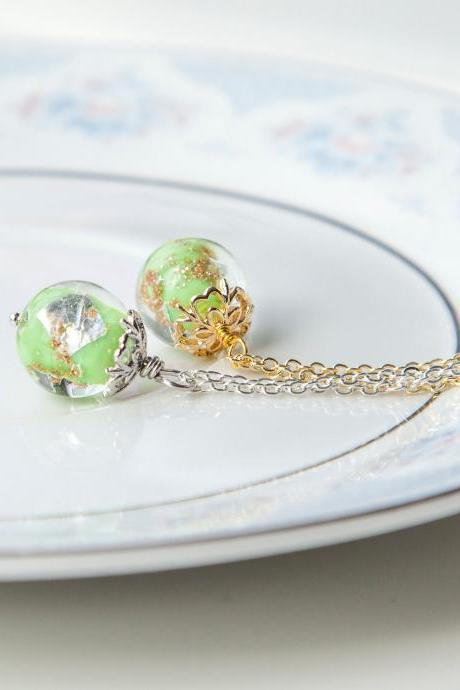 Artisan Green Lampwork Necklace Gift