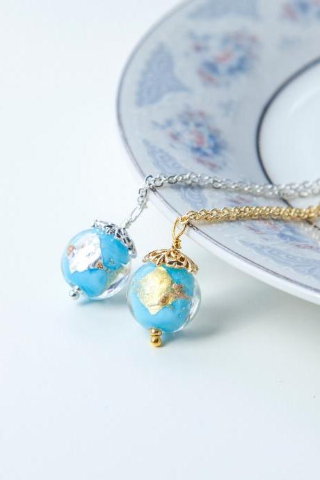 Baby Blue Lampwork Necklace, Small Round Pendant, Gold or Silver Flake Glass Necklace, Jewelry Gift for Teen Girl, Christmas Gift for Her