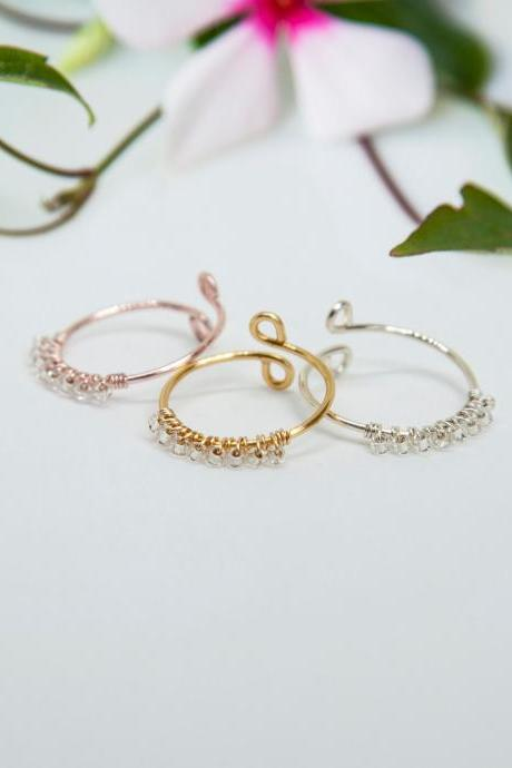 Rose Gold Ring, Dainty Ring, Midi Ring, Adjustable Ring, Open Ring, Beaded Ring