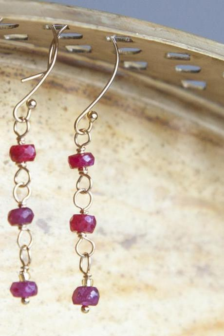 Natural Ruby Gold Filled Earrings