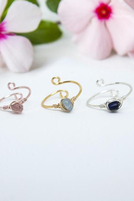 Raw Gemstone Ring, Wire Wrapped Crystal Ring, Dainty Ring, Stacking Ring, Open Adjustable Ring, Bridesmaid Proposal Ring, Bridesmaid Gift