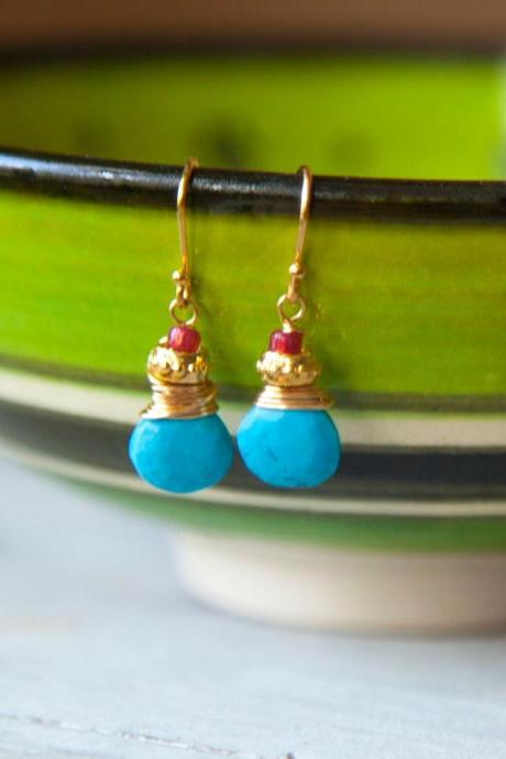Turquoise Earrings, Tiny Gold Earrings from Real Turquoise and Czech Glass, Boho Earrings Oriental Egyptian Ethnic Gypsy Statement Earrings