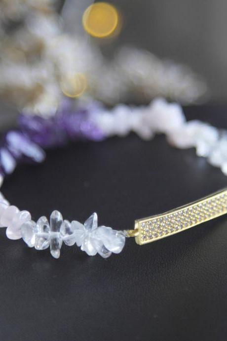 Amethyst and Pink Quartz Cz Bar Bracelet, Purple Ombre Bracelet, Stretch Bracelet