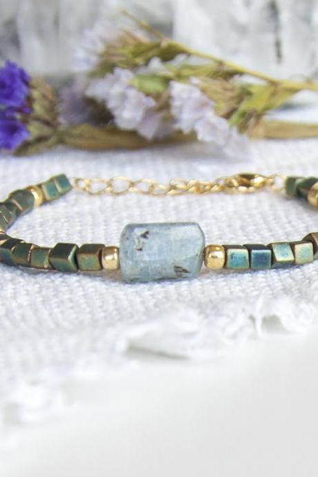 Raw Kyanite Beaded Bracelet, Cube Bead Bracelet, Blue Gemstone Bracelet, Green Blue and Gold Bracelet, Raw Stone Adjustable Bracelet