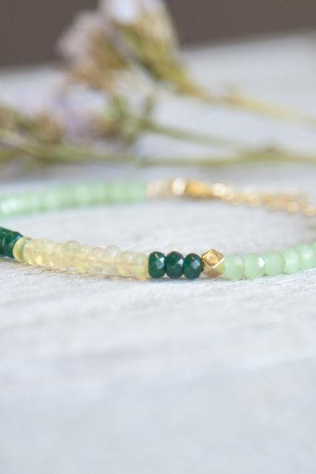 Opal and Emerald Jade Beaded Bracelet, Green Multi Stone Bracelet