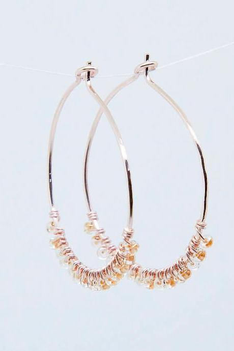 Beaded Handmade Hoop Earrings