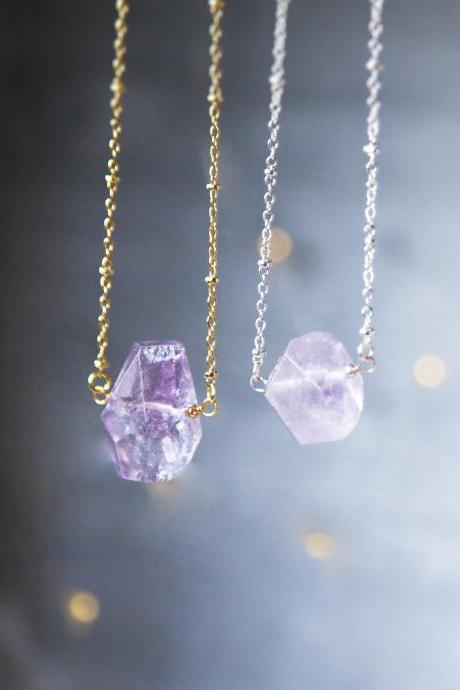 Raw Amethyst Necklace February Birthstone