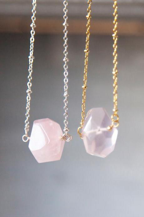 Rose Quartz Necklace, Gift for New Mother, Raw Crystal Necklace, Jewelry Gifts for Her, Heart Charka Necklace, Nugget Necklace, Love Stone