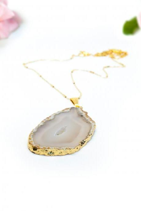 Large Natural Druzy Agate Necklace
