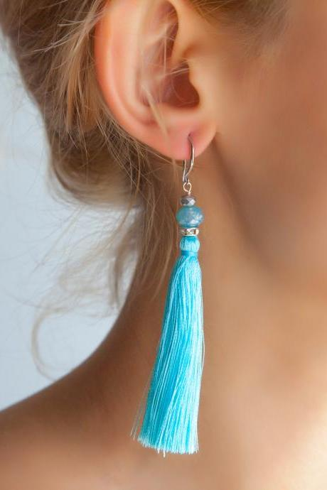 Long Blue Tassel Earrings, High Quality Cotton Tassel, Statement Boho Earrings, Gifts under 25, Christmas Gift for Her, Daughter Xmas Gift