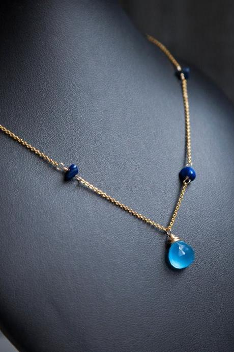 Blue Chalcedony Necklace, Faceted Teardrop Necklace wrapped in Gold Wire with Lapis Lazuli