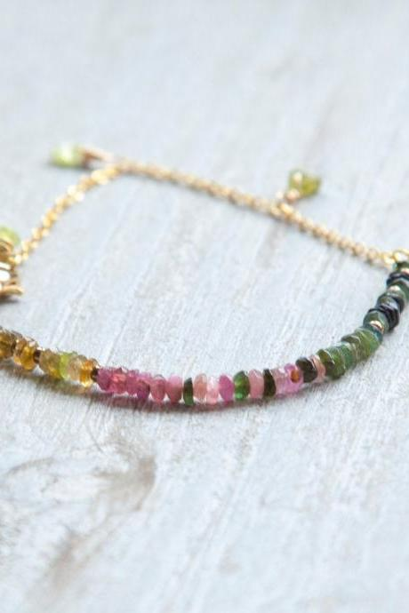 Raw Peridot and Watermelon Tourmaline Bracelet, Raw Stone Pink and Green Gemstone Bracelet, Gift for Wife, Colorful Milti Stone Bracelet