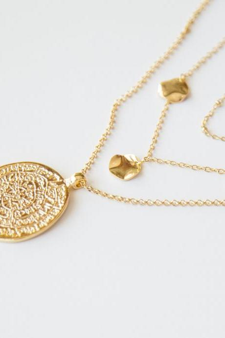 Boho Medallion Necklace, Three Layer Necklace, Boho Layered Gold Necklace, Ancient Pendant Necklace, Hammered Coins Necklace, Long Necklace