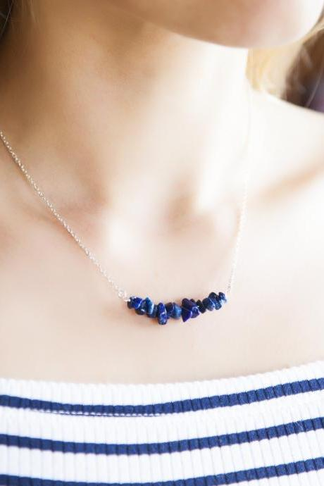 Sagittarius Stone Necklace, Lapis Lazuli Necklace, Raw Stone Necklace, Blue Semi Precious Gemstone Bar Necklace, Gift for Girl