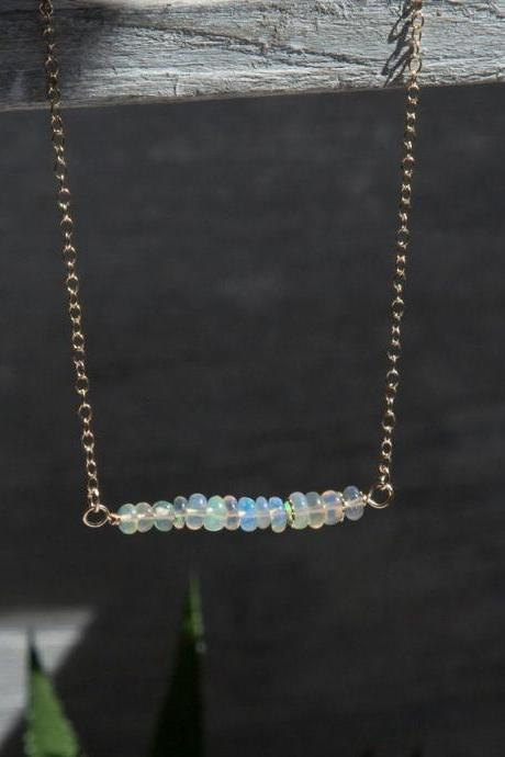 Natural Opal Bar Gold filled Necklace, October Birthstone Necklace
