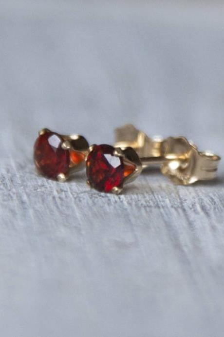 Garnet Stud Earrings, January Birthstone Earrings, Capricorn Gemstone Earrings