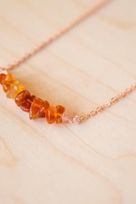 Fire Agate Necklace, Orange Gemstone Bar Necklace, Fiery Crystal Necklace, Gemini Birthstone Necklace, Rose Gold Raw Crystal Necklace