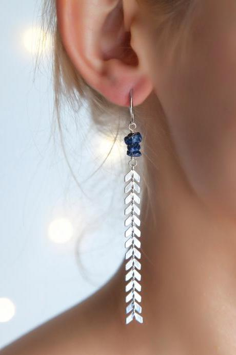 Lapis Lazuli Long Silver Earrings