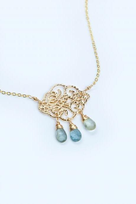 Moss Aquamarine Cloud Necklace, Rain Cloud Necklace, Aquamarine Gold Hammered Pendant Necklace, March Birthstone Necklace