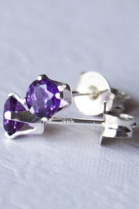 Amethyst stud earrings, February Birthstone Earrings, Sterling Silver Post Earrings