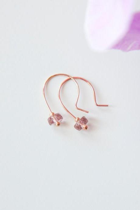 Amethyst Rose Gold Earrings, Half Hoop Earrings, Simple Modern Earrings, Jewelry Gifts for Women under 25, Valentine's Gift for Her