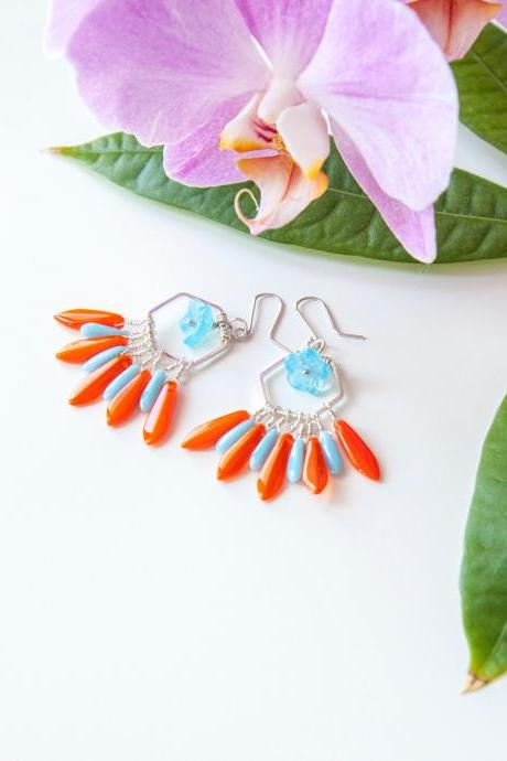 Blue and Orange Earrings, Forget-me-not Earrings, Burnt Orange Dagger Earrings, Fan Earrings, Chandelier Earrings, Coral Earrings, Gift