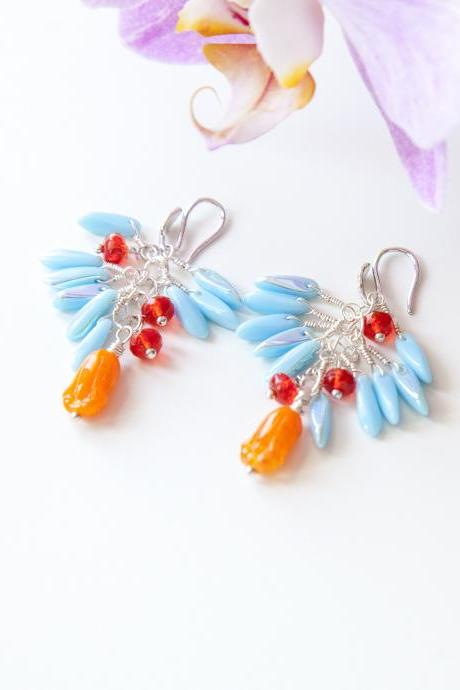 Coral Red Earrings, Floral Earrings, Burnt Orange, Coral and Pale Blue Earrings, Unique Cluster Earrings, Spring Jewelry
