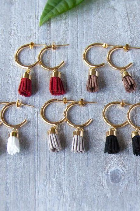 Small Tassel Earrings, Gold Hoop Earrings, Cute Earrings, Gifts under 25, Little Gift, Small Gift for Girls