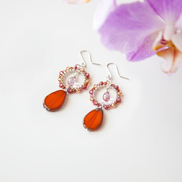 Beaded Boho Orange Silver Earrings