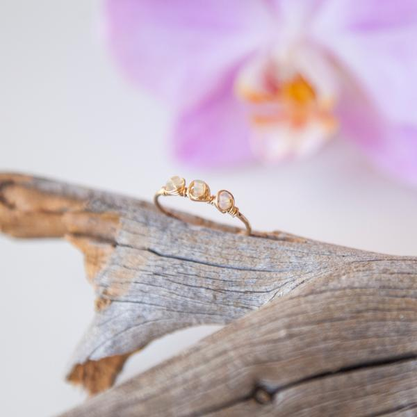 Triple Ethiopian Opal Gold-filled Ring, Dainty Textured Band Ring, Unique Jewelry Gift for Her